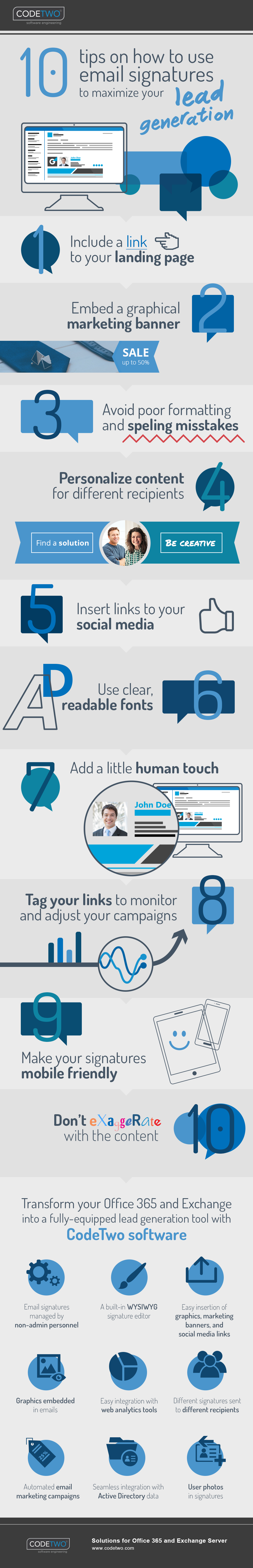 10 tips on how to use email signatures to maximize your lead generation | Infographic